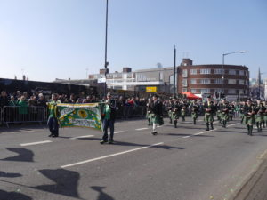 Marching down Digbeth High Street